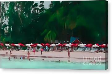 Umbrella Beach Canvas Print by Perry Webster