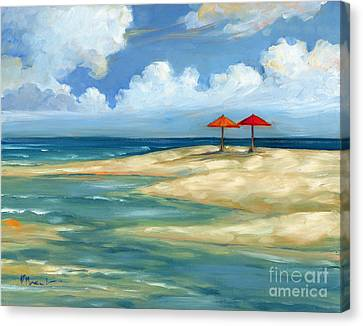 Umbrella Beachscape - Orange And Red Canvas Print by Paul Brent