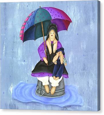 Umbrella Bunny Canvas Print