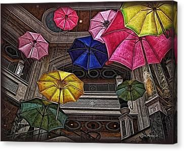 Umbrella Fun Canvas Print by Joan  Minchak