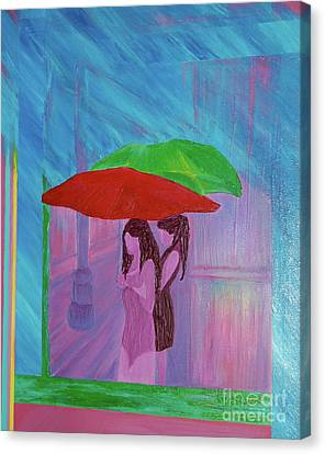 Canvas Print featuring the painting Umbrella Girls by First Star Art