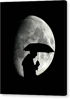 Umbrella Man With Moon Canvas Print by Christopher McKenzie
