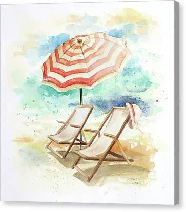 Umbrella On The Beach I Canvas Print by Patricia Pinto