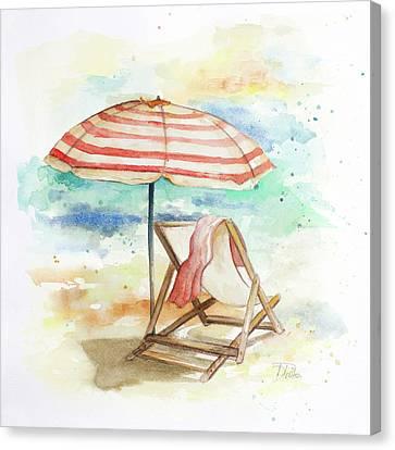 Umbrella On The Beach II Canvas Print by Patricia Pinto