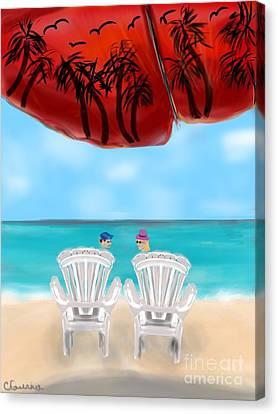 Umbrella View Canvas Print by Christine Fournier