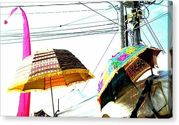 Umbrellas And Wires Canvas Print