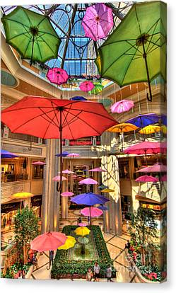 Umbrellas At Palazzo Shops Canvas Print by Amy Cicconi