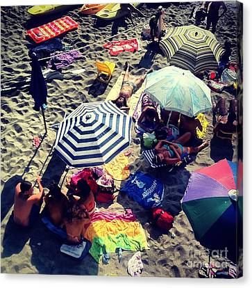 Umbrellas At The Beach Canvas Print by H Hoffman