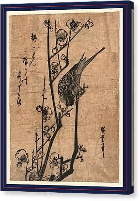 Ume Ni Uguisu, Bush Warbler On A Plum Branch Canvas Print by Utagawa Hiroshige Also And? Hiroshige (1797 ? 1858), Japanese
