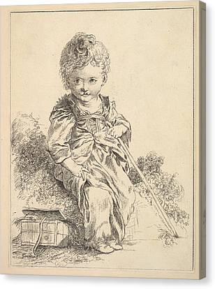 Un Enfant Assis Sur Une Motte De Terre Canvas Print by Madame la Marquise de Pompadour