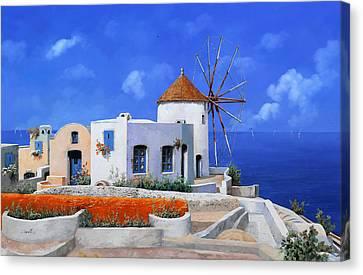 un mulino in Grecia Canvas Print