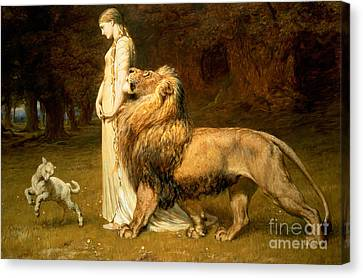 Lamb Canvas Print - Una And Lion From Spensers Faerie Queene by Briton Riviere