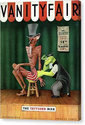 Uncle Sam Being Tattooed Canvas Print by Paolo Garretto