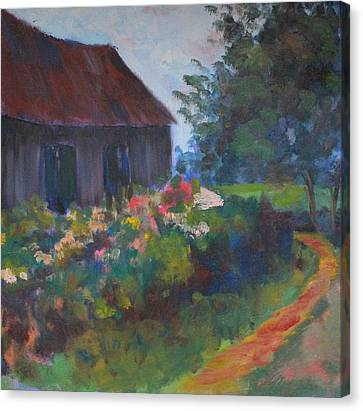 Canvas Print featuring the painting Uncle Walter's Farm by Rosemarie Hakim
