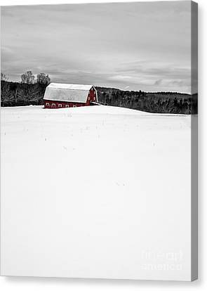 Under A Blanket Of Snow Christmas On The Farm Canvas Print by Edward Fielding