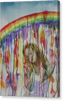 Under A Crying Rainbow Canvas Print by Anna Ruzsan