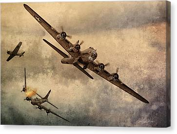 B17 Canvas Print - Under Attack by Peter Chilelli