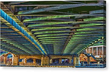 Under Hennepin Avenue Bridge Canvas Print by Bill Tiepelman