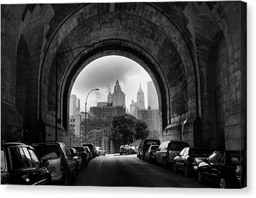 Canvas Print featuring the photograph New York City - Manhattan Bridge - Under by Dave Beckerman