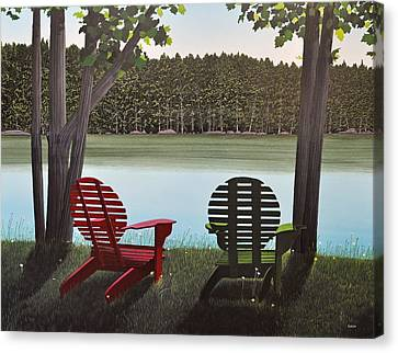 Under Muskoka Trees Canvas Print by Kenneth M  Kirsch
