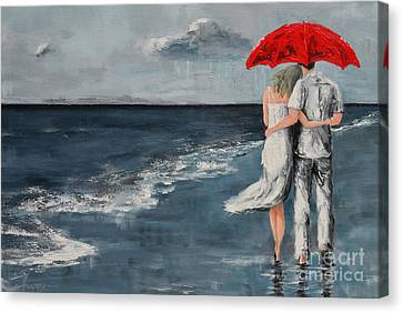 Rainy Day Canvas Print - Under Our Umbrella - Modern Impressionistic Art - Romantic Scene by Patricia Awapara