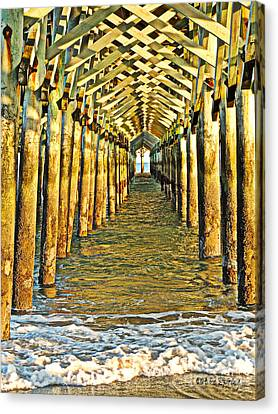 Under The Boardwalk - Hdr Canvas Print by Eve Spring