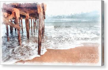 Under The Boardwalk Watercolor Canvas Print by Edward Fielding