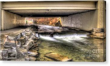 Under The Bridge In Rochester Canvas Print by Twenty Two North Photography