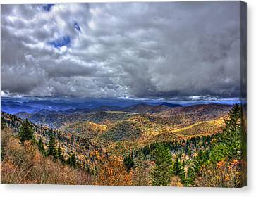 Smokey Mountains Canvas Print - Under The Clouds Blue Ridge Parkway Great Smokey Mountains North Carolina by Reid Callaway