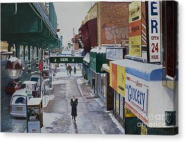 Under The El 86th Street Brooklyn Canvas Print by Anthony Butera
