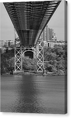 Under The George Washington Bridge II Bw Canvas Print by Susan Candelario