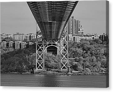 Under The George Washington Bridge IIi Bw Canvas Print by Susan Candelario