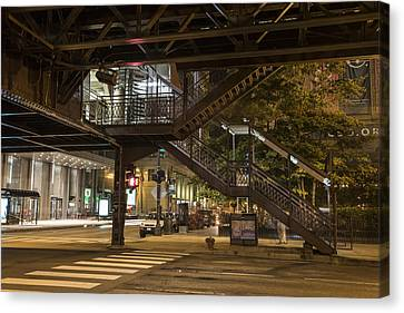 Crosswalk Canvas Print - Under The L In Chicago In Color  by John McGraw