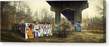 Under The Locust Street Bridge Canvas Print by Scott Norris