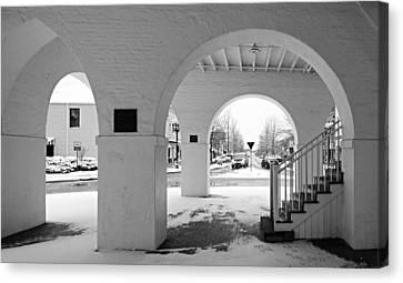 Under The Market House In Snow - Fayetteville Nc Canvas Print by Matt Plyler