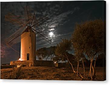 Vintage Windmill In Es Castell Villacarlos George Town In Minorca -  Under The Moonlight Canvas Print by Pedro Cardona