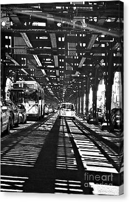 Under The One Train In The Bronx Canvas Print by Sarah Loft