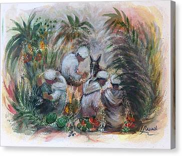 Canvas Print featuring the painting Under The Palm Trees At The Oasis by Laila Awad Jamaleldin