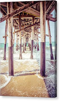 Under The Pier In Southern California Picture Canvas Print by Paul Velgos
