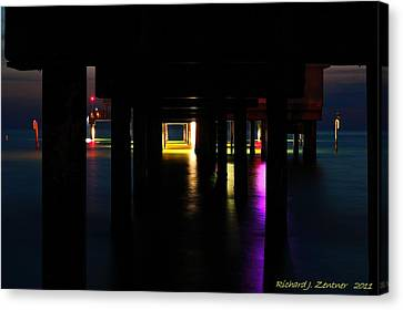 Canvas Print featuring the photograph Under The Pier by Richard Zentner