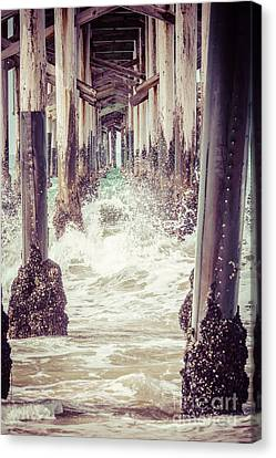 Under The Pier Vintage California Picture Canvas Print by Paul Velgos