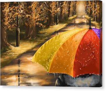 Under The Rain Canvas Print by Veronica Minozzi