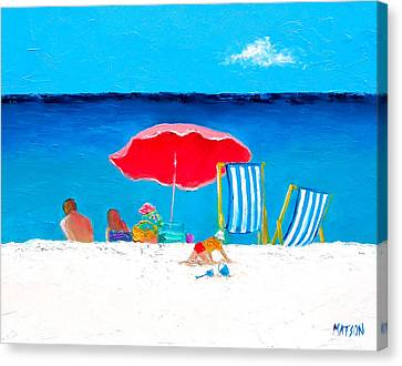 Under The Red Umbrella Canvas Print by Jan Matson