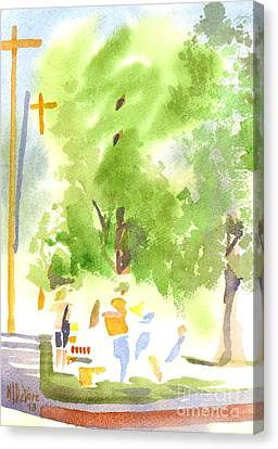 Under The Shade Trees Farmers Market Iv Canvas Print by Kip DeVore