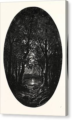 Under The Silver Full-moonlight Shimmereth White The Lake Canvas Print