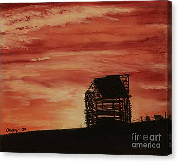 Canvas Print featuring the painting Under The Sunset by Stanza Widen