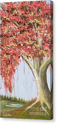 Under The Tree With Gold Leaf By Vic Mastis Canvas Print by Vic  Mastis