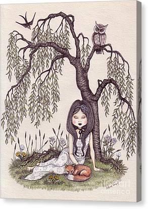 Under The Willow Tree Canvas Print by Snezana Kragulj
