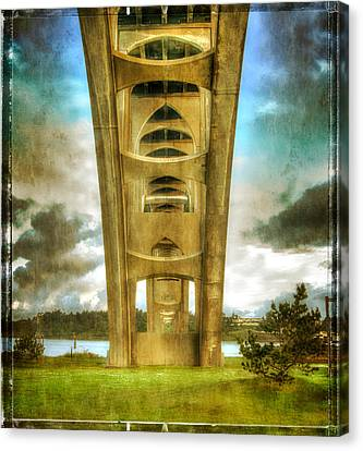 Oregon Coast Canvas Print - Under The Yaquina Bay Bridge by Thom Zehrfeld