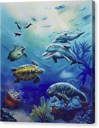 Canvas Print featuring the painting Under Water Antics by Thomas J Herring